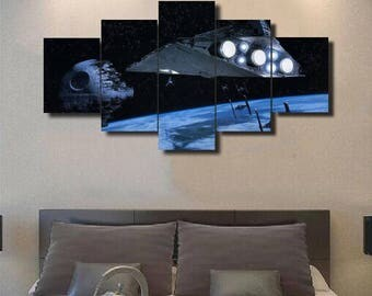 The Death Star - 5 Piece Canvas Wall Art | Star Wars Wall Art | Painting | Poster | Print | Mural | Decal | Artwork | Home Decor