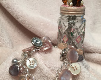 CASHMERE...vintage button charm bracelet in gray and pink
