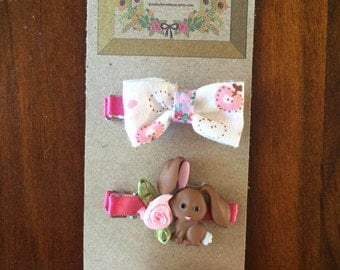 Easter Bunny and Floral Bow Clips