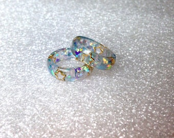 Blue Resin Ring, Pastel Goth, Pastel Grunge, Kawaii Resin Ring, Soft Grunge, Lolita Ring, Fairy Kei, Blue Ring, Kawaii Ring