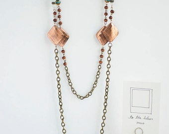 Boho Copper Blue Two Chains Necklace