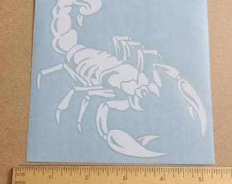 White Die Cut Scorpion Insect Window Car Sticker Decal 10