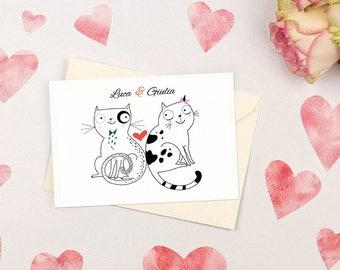 Nice wedding invitation with kittens. Simple and witty. Custom wedding invitations.