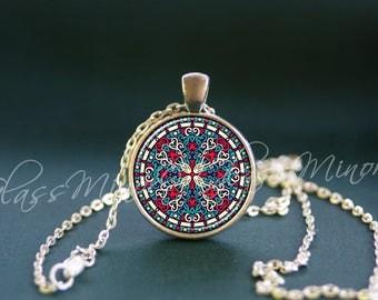 Colgante Mandala, Wanderlust viajes náuticos, flores, collar de la geografía, Mandala joyería, collar espiritual, regalo para ella