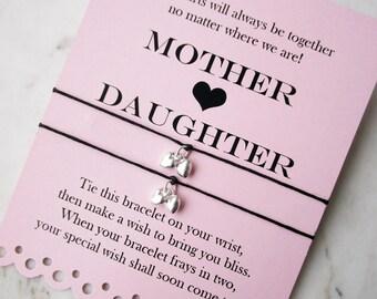 Mother Daughter wish bracelet set, sterling silver heart bracelet, mother daughter gifts, mom gifts, daughter gifts, bracelet sets