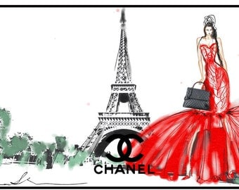 """CHANEL """"walking in Paris"""" Fashion Illustration Art Print Limited Edition figurative wall decor signed, matted"""