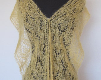 Lace Scarf light yellow gold lace handknit