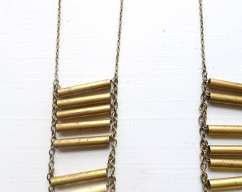 Brass accordion necklace//Brass bar necklace//Boho jewelry collection//Long necklace//Layering necklace//Gift for woman//Gift for daughter