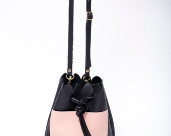 Bucket Bag. Scalloped Black Leather Bag. Black and Pink Minimalist Bucket Bag. Cross body Bag. Spring Fashion SS17