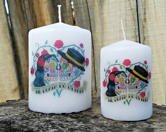 Till Death Do Us Part Day of the Dead Sugar Skull Couple Pillar Candle Set