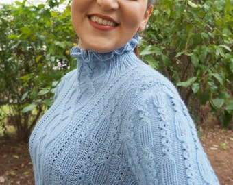 PDF knitting pattern, knitted jumper, pullover, knitted sweater,womens knitted jumper,knitted sweater pattern,cables, ruffled neck,ruffles