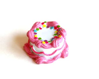Pink Birthday Cake Brooch Pink Cake Pin Rockabilly Pinup Jewelry Birthday Jewelry Rainbow Cake charm - Miniature Food Jewelry