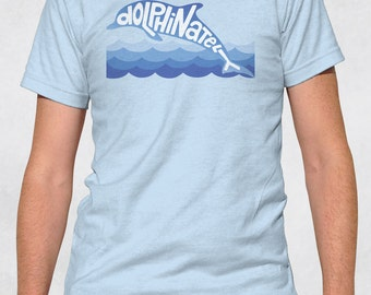 Men's Tee - Dolphinately Shirt - Sizes XS-S-M-L-XL-2XL-3XL - Guys Animal Dolphin Ocean Mammal Marine Biology Pun Swimmer Graphic Tshirt