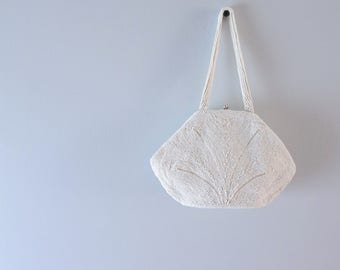 1950s White Beaded Belgium Purse S