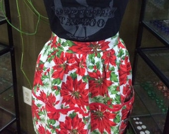 Vintage Apron with Screen Printed Poppycock Tattoo Logo