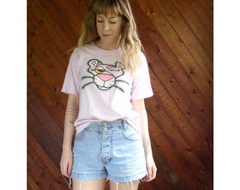 Pink Panther Distressed Graphic Tee Shirt - Vintage 90s - S