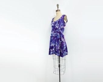 sale Ethnic Blue Dress Vintage Mini Dress Purple Batik Dress Boho Tie Dye Dress Blue Floral Dress Mini Tank Dress Purple Tribal Dress s