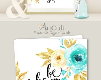 """Printable artwork """"Be happy. be bright. be you."""" art print digital download inspirational quote home decor print-it-yourself ArtCult designs"""