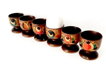 6 Wood Egg Cups Hand Painted Scandinavian Style