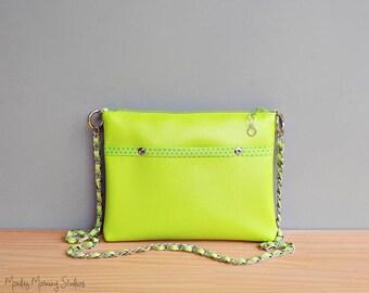 Lime Green Vegan Purse, Choose Your Bright Bold Colors,  Handmade Faux Leather Handbag with Silver Chain Strap, Custom Vinyl Crossbody Bag,