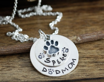 Hand Stamped Pet Necklace, Pet Lover Necklace, Dog Mom Necklace,  Dog Name Necklace, Dog Paw Necklace, Gift for Dog Mom, Mothers day Gift