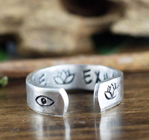 Inhale Exhale Jewelry, Lotus Ring, Secret Message Ring, Yoga Jewelry, Yoga Gift Idea, Personalized Ring, Evil Eye Ring, Inspirational Ring