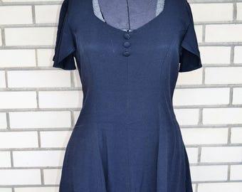 90s grunge dress small, black vintage bias cut dress, 1990s clothing