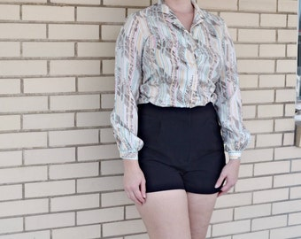 80s print blouse small, vintage blouse Lady Manhattan, 1980s Multi color clothing