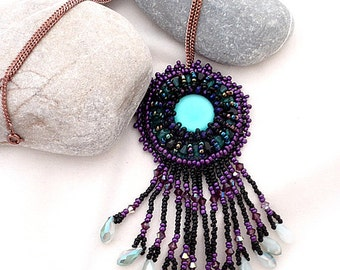 bead embroidered black purple necklace   boho fringes beads necklace   the third eye   black aqua boho necklace   gift for her OOAK