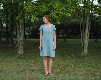 Womens Jersey Knit Cotton Short Sleeve Dress Handmade in the USA - Made to Order - Basics Empire