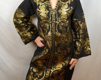 Vintage GreekWoven Metallic Folk Caftan Embroidered Black and Gold Hippie WOW Dress