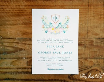 100 Floral Watercolor Wedding Invitations - The Ella Collection - By My Lady Dye