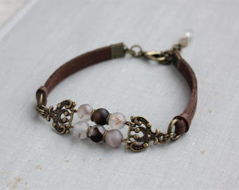 Frosted Natural Agate Leather Bracelet