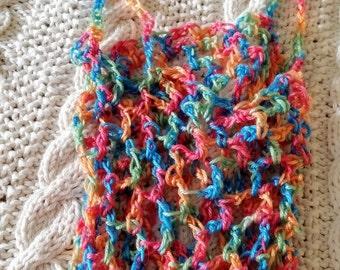 String bag - Gift bag  - Multi Colour - Pink Blue Peach Green - Market Bag - Beach Bag - Mesh Bag -