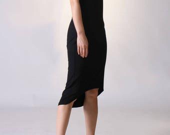 Black Cold Shoulder Dress, Ruffle Sleeve Dress,  High Low Hem Jersey Dress, Midi Dress, Cut Out Shoulder Dress, Sexy Black Dress