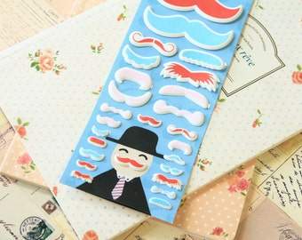Red Happiness Mustache Puffy cartoon stickers
