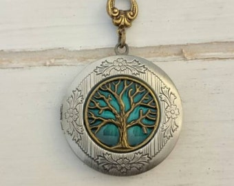 Tree of life locket, the beauty of mixing antique silver with brass, Vintage style Locket, family, friends, Anniversary Gift, wedding gift.