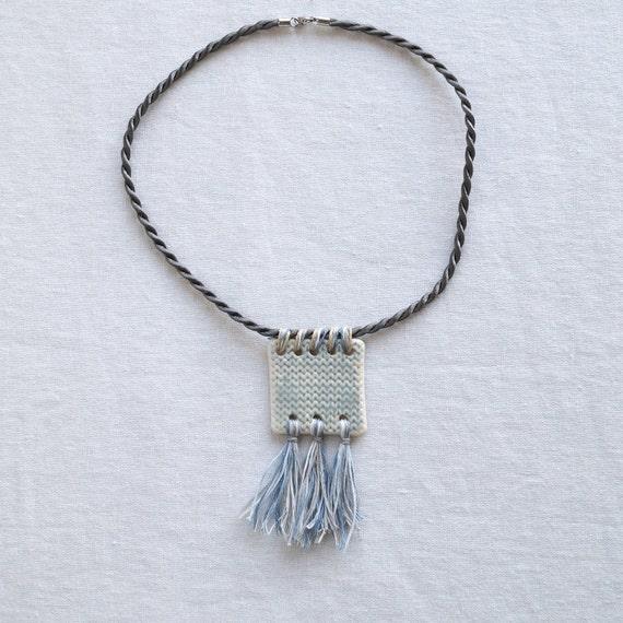 KNITTED SQUARE necklace with tassels, short twisted grey satin cord, artisan ceramic porcelain pendant, grey glaze