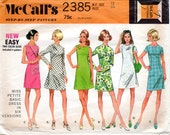 1970s Simple Dress Pattern - Vintage McCall's 2385 - Size 12