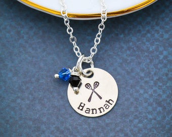 Lacrosse Gift Team Jewelry • Lacrosse Necklace Sport Fan Gift • Sport Team Coach Gift • Personalized Lacrosse Sticks Player Gift