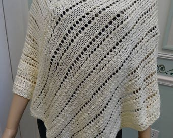 SUMMER LACEY PONCHO, off white , soft acrylic light weight yarn, hand knitted , size small to medium