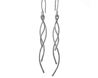 Coworker Gift, Outdoors Gift, Dainty Earrings, Nature Lover Gift, Silver Dangle earrings for Her, Everyday Earrings, Long Branch Earrings