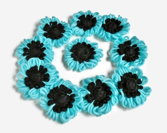 Crochet Flower Appliques Turquoise Blue and Black Loopy Daisies Mums , Hand Loomed DIY Crafts Sew On Flowers