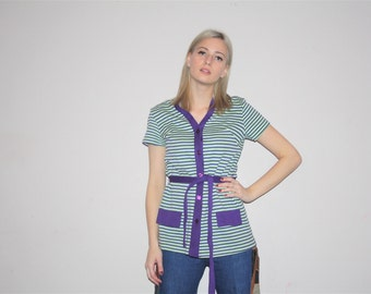 Vintage 1970s Green and Purple Striped Belted Top Shirt  - Vintage 70s Tops  - W00383