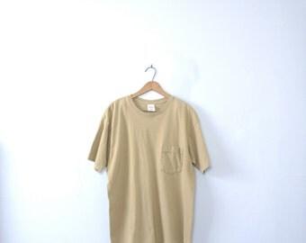 Vintage 90's taupe shirt with pocket, khaki tee, size large