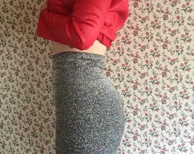 Metallic Midi   high waist 90s vintage body con style long pencil midi skirt cyber goth punk club kid SILVER bottom small medium large S M L