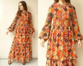 1970's Vintage Angela Gore Tiered Patchwork Floral Folk Print Maxi Dress Size Small