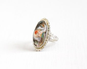 Vintage Sterling Silver Blister Pearl Ring - Size 8 1/2 Antique Floral Repousse Art Deco 1940s Colorful Statement Jewelry