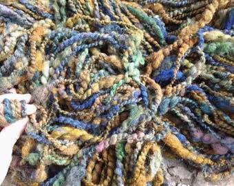 Handspun yarn WOODLAND TRAIL soft 105 yard skeins great earthy palette approx 7 ounces each  thick, soft corriedale wool soft alpaca