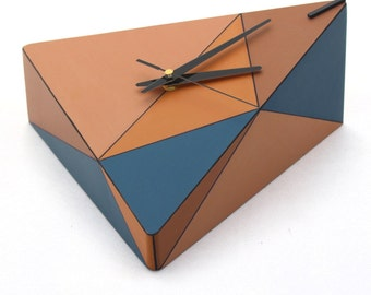 FREE SHIPPING Wall clock, Wall hanging clock, Geometric Wood wall clock, Triangle Brown Blue Orange, Unique wall decor, Mothers day gift